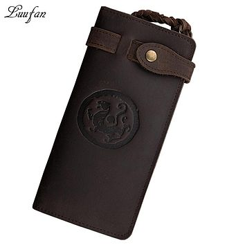 Men genuine Leather long Wallet Real leather chain card holder wallet long leather wallet with lock chain and coin zipper pocket