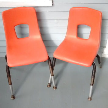 Chairs, Kids Chairs, Shell Chairs, Stacking Chairs, Lot of Two, Orange, Artco-Bell Corp., Temple, Texas, Mid Century Modern, Vintage