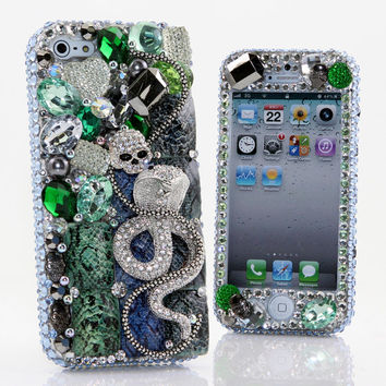 iPhone 5 5S 5C 4/4S - Samsung Galaxy S3 S4 Note2 3 Handcrafted Case Cover 3D Luxury Bling Crystal Diamond Green Silver Cobra Snake Skull_477