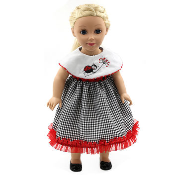18 Inch American Girl Doll Clothes Plaid Skirt Accessories For Princess Girl Doll