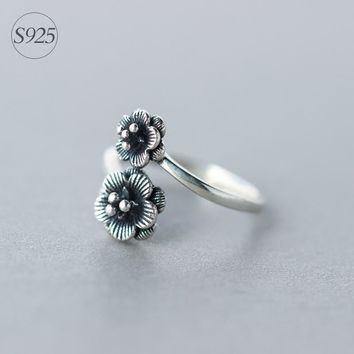 Vintage Real 925 Sterling Silver Double Flower Ring Openable Adjustable Size  Finger Ring Rock Gothic GTLJ640