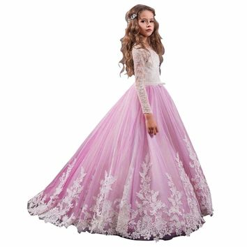 ZYLLGF Bridal Hot Sale Long Sleeves Pageant Girl Dress Size 14 Tulle Flower Girl Dresses For Party 2017 With Appliques FP43