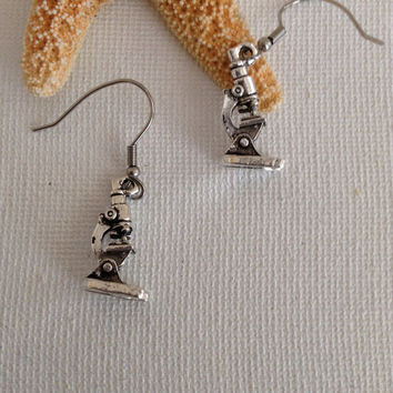Microscope earrings, lab tech, laboratory tech, medical earrings, gifts for lab techs