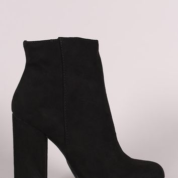 Suede Almond Toe Chunky Heeled Booties