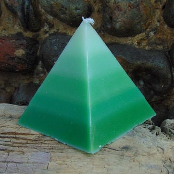 Shades of Green Pyramid Candle (handmade)