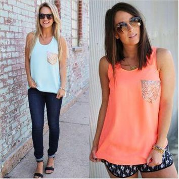 New 2018 Summer Women Tank Top Chiffon Sleeveless Pockets Sequined Vest Top Ladies Casual Sleeveless Patchwork Tshirts