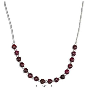 "Sterling Silver 16"" Liquid Silver And Garnet Bead Necklace"