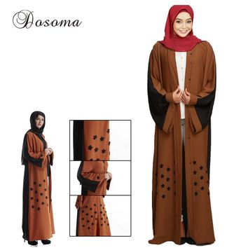 Fashion Muslim Abaya Robe Flower Hijab Maxi Dress Cardigan Ramadan Kimono Thobe Middle East Islamic Turkish Arab Prayer Clothing