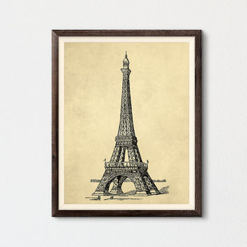 Vintage Eiffel Tower Printable, Love French Wall Art Home Decor Art Print, Landmark Illustration