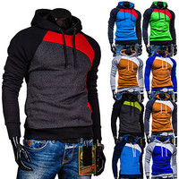 Multi Color Contrast Mens Slim Fit Pullover Hoodie