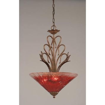 Toltec Lighting 204-BRZ-716 Swan Bronze Three-Light Bowl Pendant with Raspberry Crystal Glass Shade