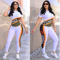 FENDI Women Casual Print Top Pants Trousers Set Two-Piece Sportswear