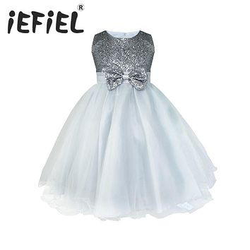 Kids Infant Girls Flower Dress Wedding Bridesmaid Birthday Party Pageant Princess Formal Dress Sequined Bow Tulle Tutu Dress