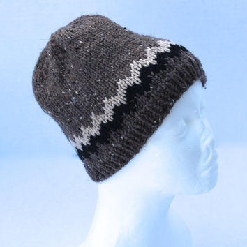 Knit Hat - Children Hat - Brown Tweed with Black and Buff Accents
