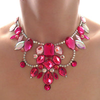 Floating Illusion Necklace, Bright Pink Necklace, Elegant Bib Necklace, Pink and Crystal AB Rhinestone Bib Necklace, Pink Jeweled Necklace