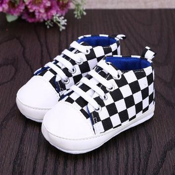 Baby Shoes Infant Toddler Leopard Plaid Baby Shoes Lace Up Crib Kids Girls Shoes PU Le