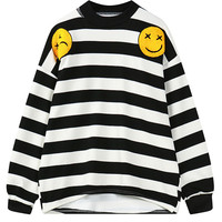 Monochrome Striped Smiley And Letter Embellished Sweatshirt