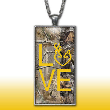 Camo Love Heart Pendant Charm Necklace Deer Head Browning Yellow Country Girl Custom Necklace Silver Plated Jewelry