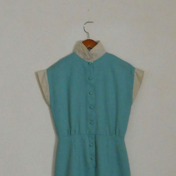 40s Day Dress Teal Button Up WW2 Era Wartime Fashion Pinup Size 5 / 6 Knee Length