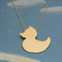 Rubber Duck Gold Necklace Handmade Free Shipping by meytalbarnoy