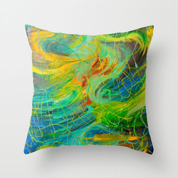 NAUTICAL GALAXY - Beautiful Aquatic Blue Green Ocean Universe Abstract Acrylic Painting Gift Decor Throw Pillow by EbiEmporium