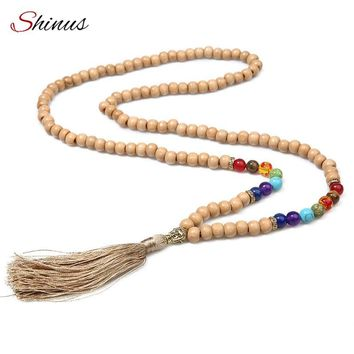 SHINUS Vintage 7 Chakra Men Gold Buddha Necklace Maix Wood Bead Strand Long Tassel Pendant Necklaces Female Men Meditation Gift
