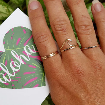 Aloha ring, gold ring, stamped aloha ring, small print ring, stack ring, 14 k gold filled stackable ring, skinny ring, dainty ring, hawaii