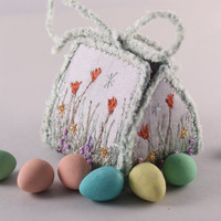 Embroidered Gift box Spring floral garden wedding favor box tulips flower silk embroidery gardeners gift trinket box