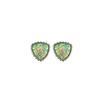 Sterling Silver Opal Earrings In Sea Foam