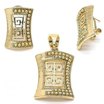 Gold Layered Earring and Pendant Adult Set, Greek Key Design, with Pearl, Gold Tone