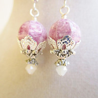 Speckled Pink Czech Glass & White Crystal Short Silver Filigree Flower Earrings, Victorian Style