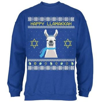 ONETOW Llama Llamakkah Ugly Hanukkah Sweater Royal Adult Sweatshirt