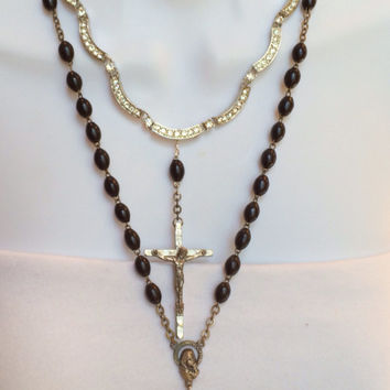 Vintage Rhinestone and Rosary Assemblage Necklace