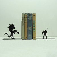 Dragon & Knight Bookends Free USA Shipping by KnobCreekMetalArts