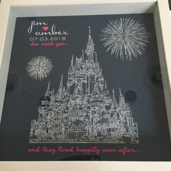Engagement Gift Disneyland Engagement Disneyworld Engagement Custom FRAMED Art Cinderellas Castle Disneyland Wedding Disneyworld Wedding