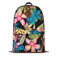 ZLYC Tropical Floral Print Canvas School Backpack