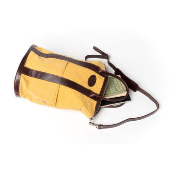 Yellow and Brown Helmet Bag by QP