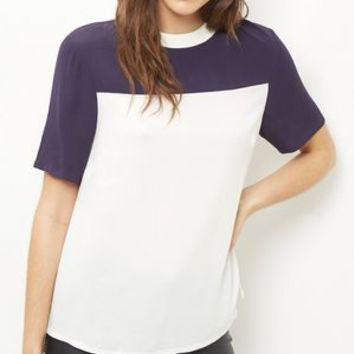 White Colour Block Swing T-Shirt