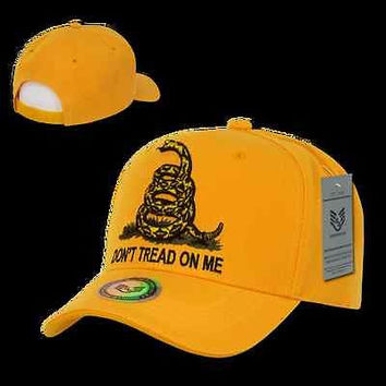 Rattlesnake Hat Ball Cap Don't Tread On Me Caps, Gold A02