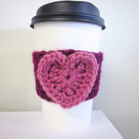 Crochet Cup Cozy The Valentines Heart Coffee Cup Sleeve in Pink and Berry