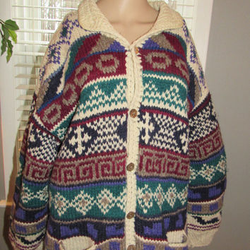 ON SALE Vtg REY Wear Ecuador / Rey Wear Hand Knit Sweater / Tribal Aztec Wool Sweater Coat / Unisex Vintage Sweater / Chunky Knit Hipster Ju