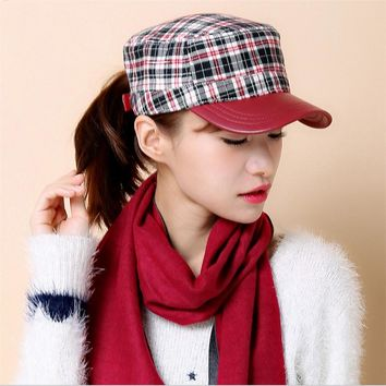 Fashion baseball cap women autumn-winter Plaid snapback baseball caps Adjustable prevented bask lady hat cap
