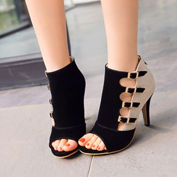 Fashion Casual Multicolor Many Buckle Sandals Hollow Zip Exposed Toe Boots Women Heels Shoes