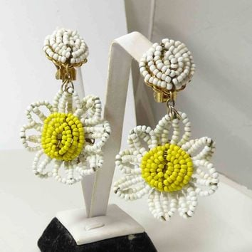 Miriam Haskell signed White Glass Seed Beads –Dangle Daisy Earrings
