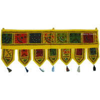 Yellow Indian Vintage Tribal Patchwork Window Valance Topper on RoyalFurnish.com