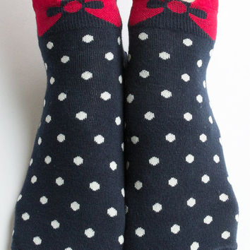 Women New Must Have Hezwagarcia Oh My God So Cute Ribbon Dot Pattern Navy Cotton Socks