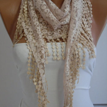 Cream- Ivory Lace Scarf- Shawl Headband  Cowl with Lace Edge by DIDUCI