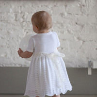 Baptism dress Knit Baby girl Brigh white Flower girls Dress First birthdays dress