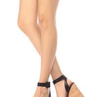 Natural Leopard Contrast Ankle Strap Cork Wedges