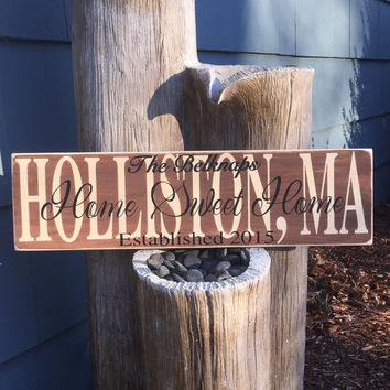 "Established Sign, Town Sign, Location Sign, Custom Sign, ""Home Sweet Home"", Housewarming, Wedding Gift, Home , Shower Gift, Simply Fontastic"